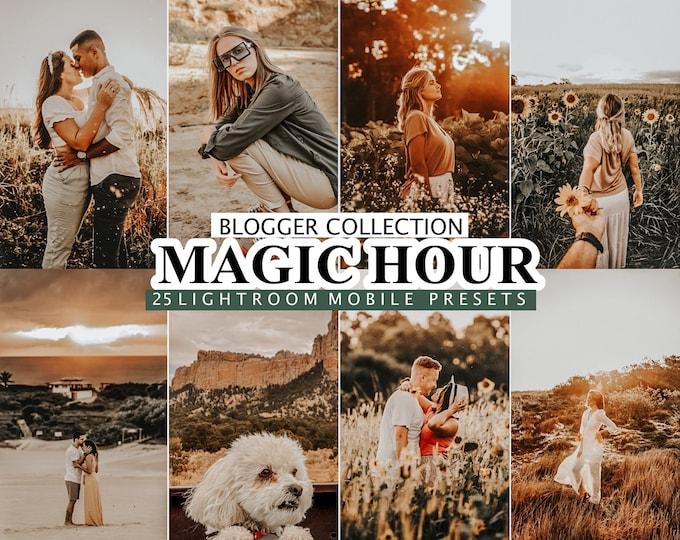 25 Mobile and Desktop Lightroom Presets, Magic Hour presets, Autumn Golden Lightroom Preset, Warm Instagram Filter