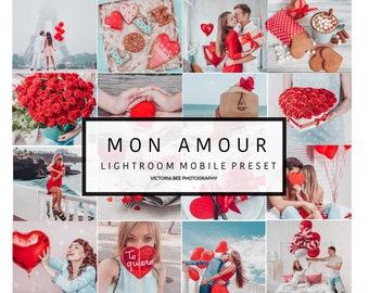 5 Mobile Lightroom Preset MON AMOUR Valentine Instagram Lightroom Preset for Blogger
