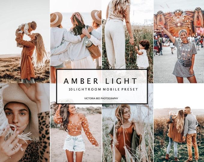 10 Lightroom Presets AMBER LIGHT for Mobile and Desktop Lightroom, Lifestyle Presets for Home Blogger Filter, Warm Instagram Presets
