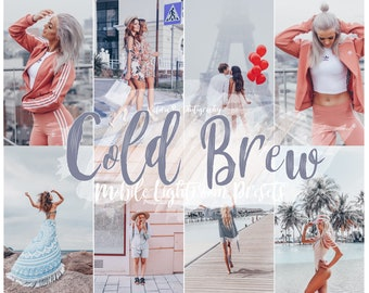 5 Lightroom Mobile Presets COLD BREW Pale Grey Tones Preset for Bloggers Silver Mood Mobile Preset Cool Instagram filter