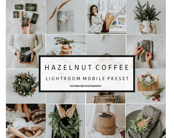 5 Mobile Lightroom Preset HAZELNUT COFFEE  Holiday Winter Light Lightroom Preset Cozy Creamy Mobile Preset