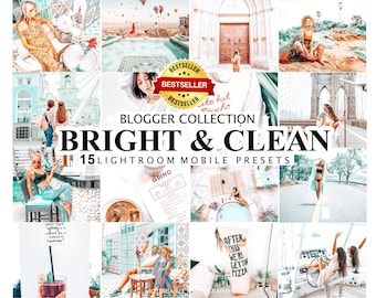15 Mobile Lightroom Presets BRIGHT AND CLEAN Desktop Presets for Bloggers, Bright and Airy Lightroom Presets, Light and Clean Preset