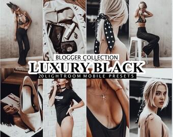 20 Lightroom Presets LUXURY BLACK for Desktop and Mobile Lightroom, Deep Moody,  Dark Instagram Filter, Black Tones Blogger Presets