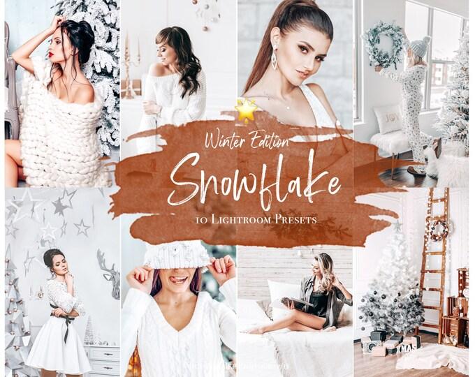 10 CHRISTMAS Presets SNOWFLAKE, Christmas Mobile Lightroom Presets, Winter Lightroom Desktop Presets
