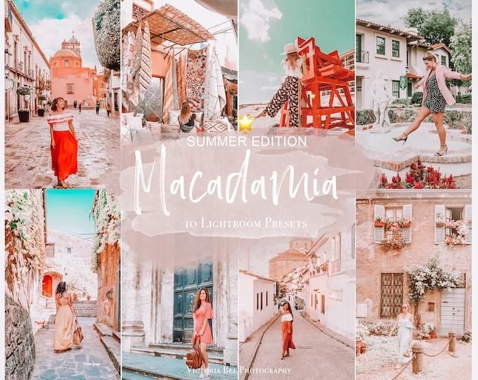 10 Mobile Lightroom Presets MACADAMIA, Instagram Filter, Travel Presets for Influencer, Lifestyle Blogger Collection