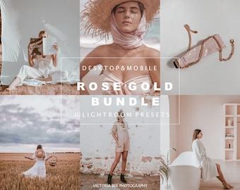 30 Lightroom Presets ROSE GOLD, Mobile and Desktop Preset Bundle, Pink Photo Filter, RoseTones, Gold Nude Presets for Bloggers