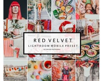 5 Lightroom Mobile Presets RED VELVET Bright Holiday Lightroom Preset Christmas Photos Editing