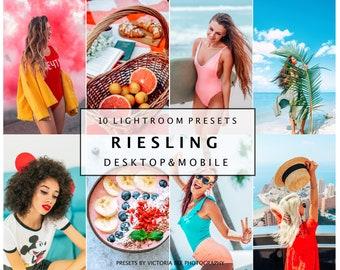 10 Lightroom Presets RIESLING for Desktop and Mobile Lightroom, Color Pop, Vibrant Presets, Instagram Blogger Summer Photo Filter