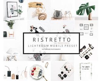 5 Lightroom Mobile Presets  RISTRETTO Minimalist Clear Bright Preset for Bloggers. Lightroom instagram preset