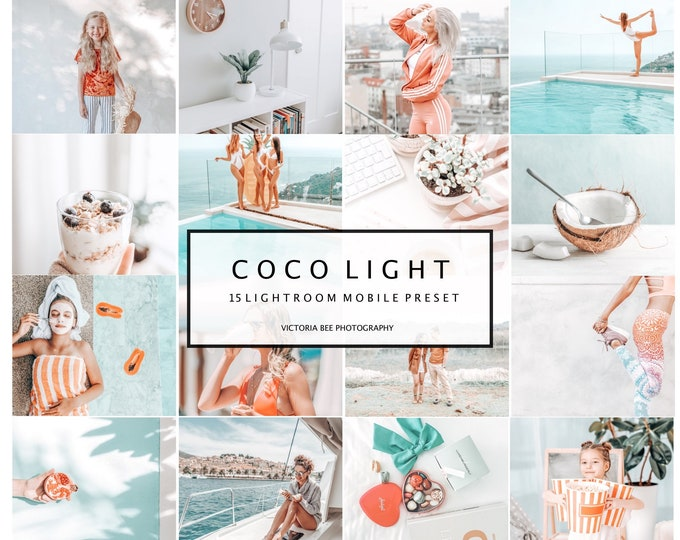 15 Mobile Lightroom Presets Coco Light, Desktop and Mobile Instagram Filter For Bloggers, Light and Airy Preset, Photo editing