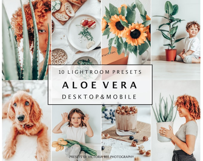 10 Lightroom Mobile Presets ALOE VERA, Bright Airy Mobile Presets For Bloggers, Indoor Outdoor Light Presets Instagram Photo Editing