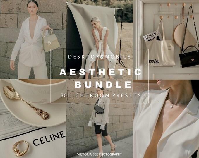 30 Lightroom Presets Aesthetic, Mobile and Desktop Preset Bundle, Natural Photo Filter, Beige Tones, Nude Presets for Bloggers