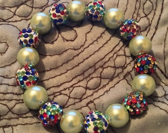 Individual Custom Bracelet (Pears, Cream & Stain Glass)