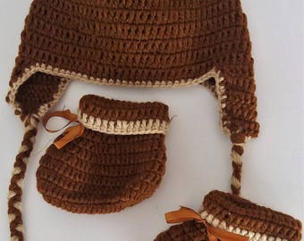Peruvian beanie and hand crocheted boot set
