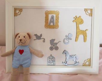 Handmade frame decoration for nursery room