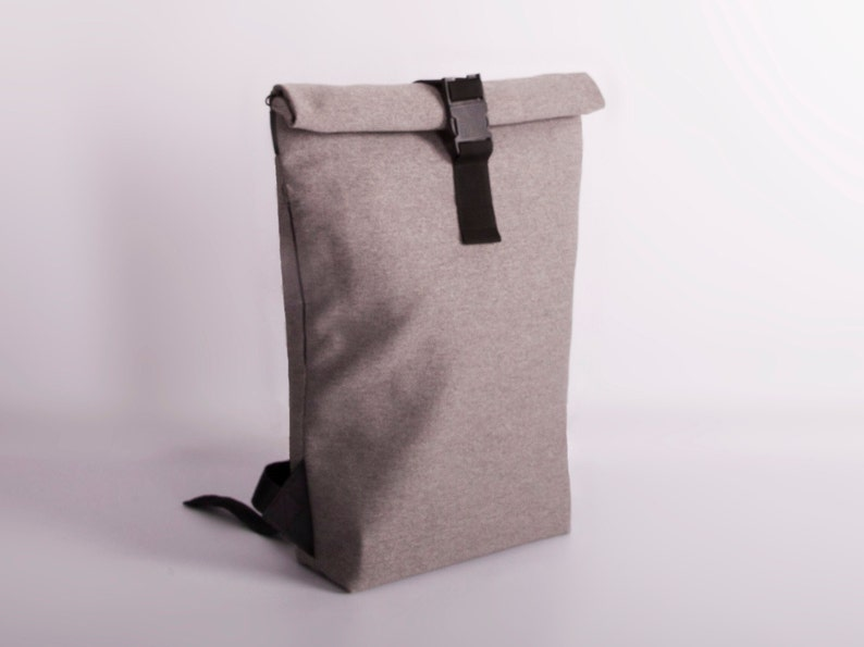 4ffc5aa2f4f4 Grey Rolltop Backpack Gray canvas rucksack Laptop backpack   Etsy