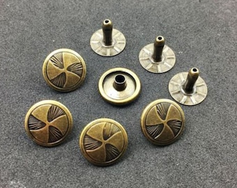 25Sets Antique Brass Fan Propeller Rivets Leather Concho Accessories Snaps RV093
