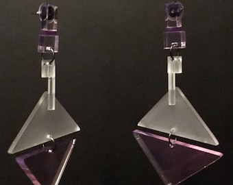 Clear Pink, Misty and Purple Perspex Geometric Earrings