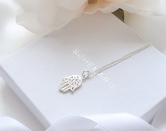HAMSA HAND Fatima Khamsa Solid 925 Sterling silver Pendant Necklace-CZ-Chain opt