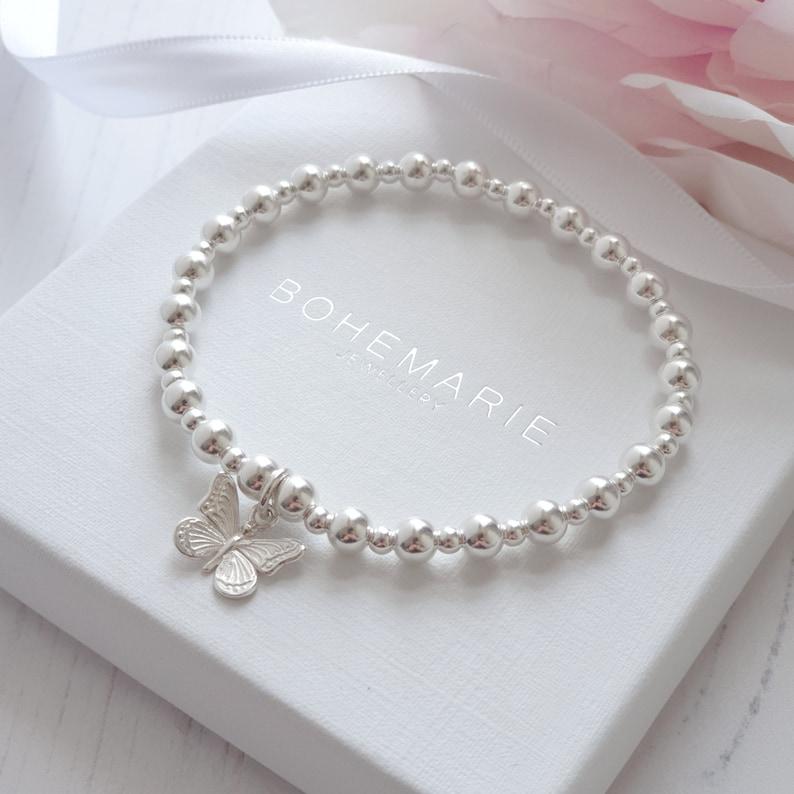 Sterling silver butterfly beaded charm bracelet gemstone stacking jewellery boho
