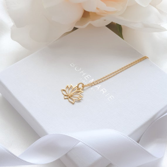 Gold Plated Lotus Flower Necklace,Dainty Layering Necklaces Necklaces For Women