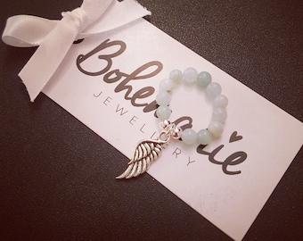 Bohemarie amazonite gemstone silver angel wing charm ring beaded bijoux jewellery boho