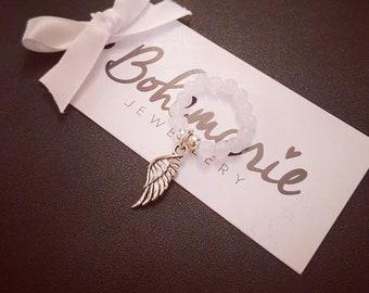 Bohemarie white jade gemstone silver angel wing charm ring beaded bijoux jewellery boho