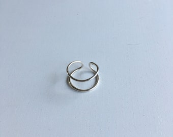 Adjustable Sterling Silver Double Ring