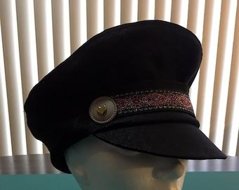 96c2f76f702 Black denim peaked cap