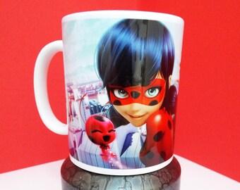 Miraculous Ladybug and Cat Noir Mug 11 ounce capacity ceramic coffee cup lovely gift idea
