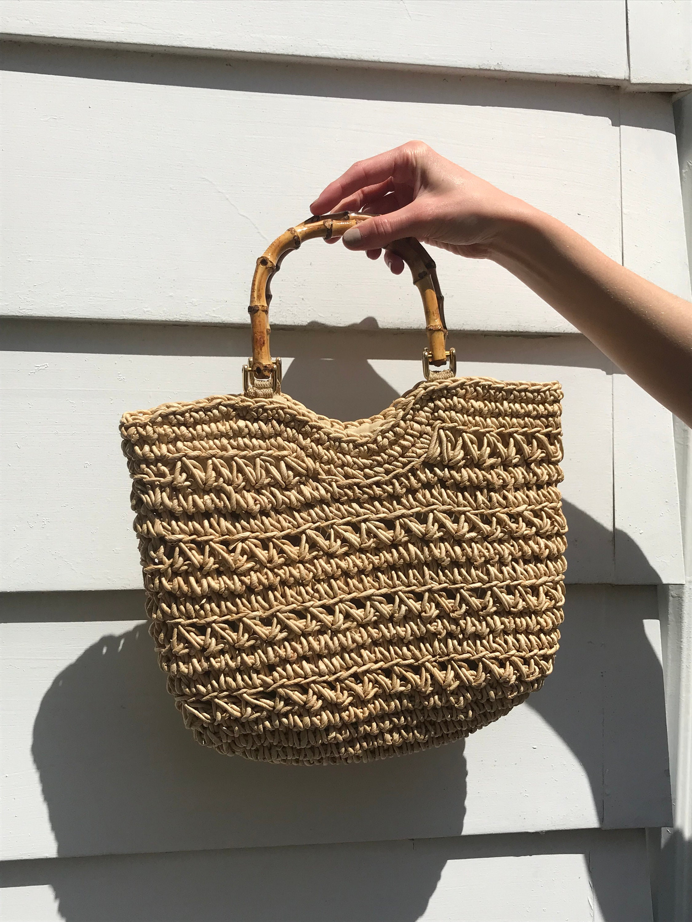 Vintage Super Cute Crochet Straw Bag With Bamboo Handle Etsy