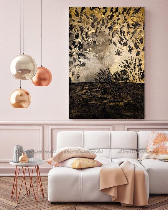 Abstract gold wall art, Modern wall art, Gold painting, Gold wall decor,  Black and gold decor, Black gold painting, Abstract print
