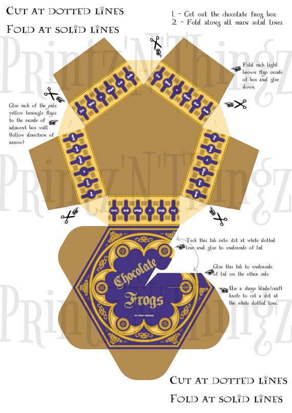 Harry Potter Style Chocolate Frog Box Trading Cards Instant Download Pdf