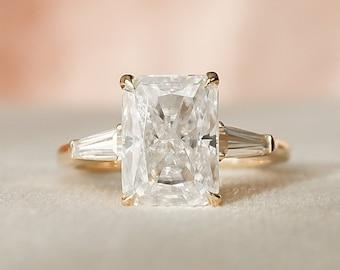 3.5 CT Radiant Cut Three Stone Engagement Ring, Moissanite Wedding Ring