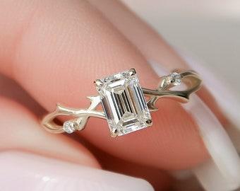 0.8 CT Emerald Lab Diamond Engagement Ring, Nature Inspired Twig Wedding Ring