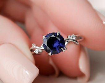 1 CT Blue Sapphire Twig Engagement Ring, Nature Inspired Engagement Ring