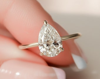 1.5 CT Dainty Pear Cut Engagement Ring, Minimalist Pear Shaped Diamond Wedding Ring