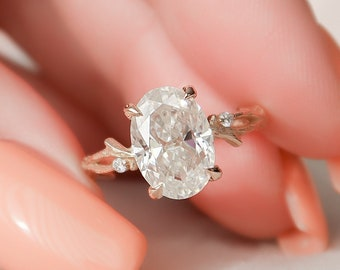2 CT Oval Cut Twig Engagement Ring, Moissanite Nature Inspired Wedding Ring