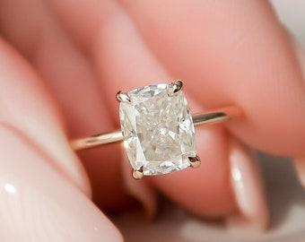 2 CT Dainty Cushion Cut Engagement Ring, Minimalist Elongated Cushion Wedding Ring