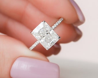 3.5 Dainty Engagement Ring, Radiant Cut Moissanite Engagement Ring