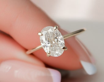 1.5 CT Oval Cut Engagement Ring, Moissanite Hidden Halo Engagement Ring