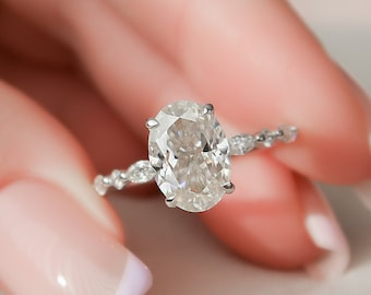 2.5 CT Oval Engagement Ring, Dainty Moissanite Engagement Ring