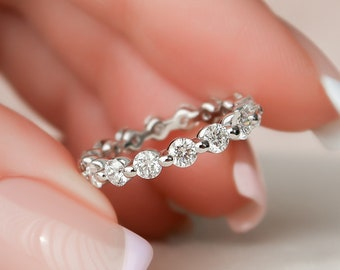 3mm Shared Prong Eternity Band, Lab Diamond Bubble Eternity Ring