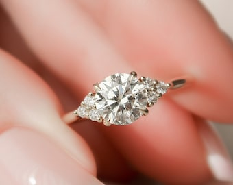 1 CT Round Cut Engagement Ring, Side Stones Cluster Diamond Engagement Ring
