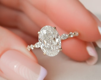 3 CT Oval Engagement Ring, Dainty Moissanite Engagement Ring