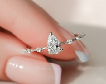 0.5 CT Lab Diamond Pear Cut Engagement Ring, Minimalist Hidden Halo Engagement Ring
