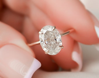 2.5 CT Oval Cut Engagement Ring, Moissanite Hidden Halo Engagement Ring