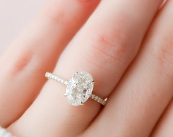 2 CT Oval Engagement Ring, Hidden Halo Moissanite Engagement Ring