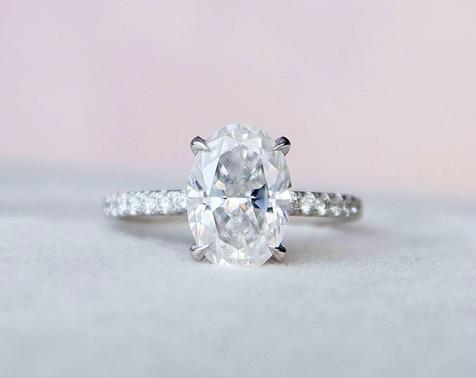 Featured listing image: 2.5 Carat Oval Engagement Ring, Hidden Halo Moissanite Engagement Ring