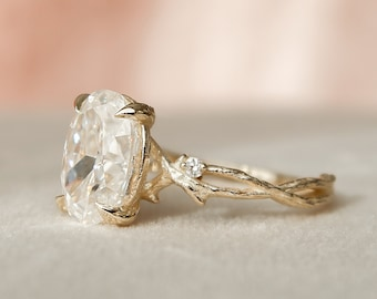 2.5 CT Oval Cut Twig Engagement Ring, Moissanite Nature Inspired Wedding Ring